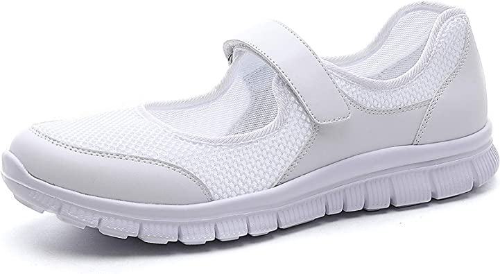 Womens Walking Shoes Trainers Nurse Shoes Sandals Flats Sports Work Shoes Loafers Gym Mary Jane Slip On Athletic Light Weight Water Shoes Summer Grey Size 7UK=Label Size 41