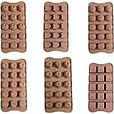 Set de 6 bandejas con 90 moldes de silicón flexible para chocolate, gelatina, cubos de hielo, horneado y enfriado, por Kurtzy TM