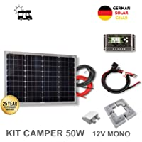 VIASOLAR Kit 50W Camper 12V Panel Solar monocristalino células alemanas