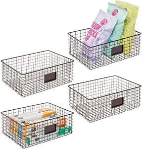mDesign Farmhouse Decor Metal Wire Food Organizer Storage Bin Baskets with Label Slot for Kitchen Cabinets, Pantry, Bathroom, Laundry Room, Closets, Garage - 4 Pack - Bronze