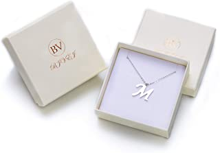 Bivei Initial Letter Necklace Alphabet Name Stainless Steel Jewelry Men/Women Personalized Groomsman Bridesmaid Gift Wedding 18''