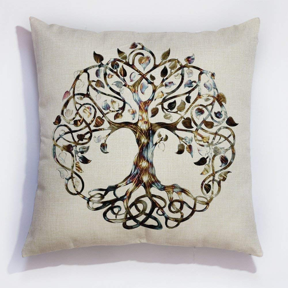 quanzhouxuhuixiefu - Funda de cojín de Lino, diseño de árbol ...