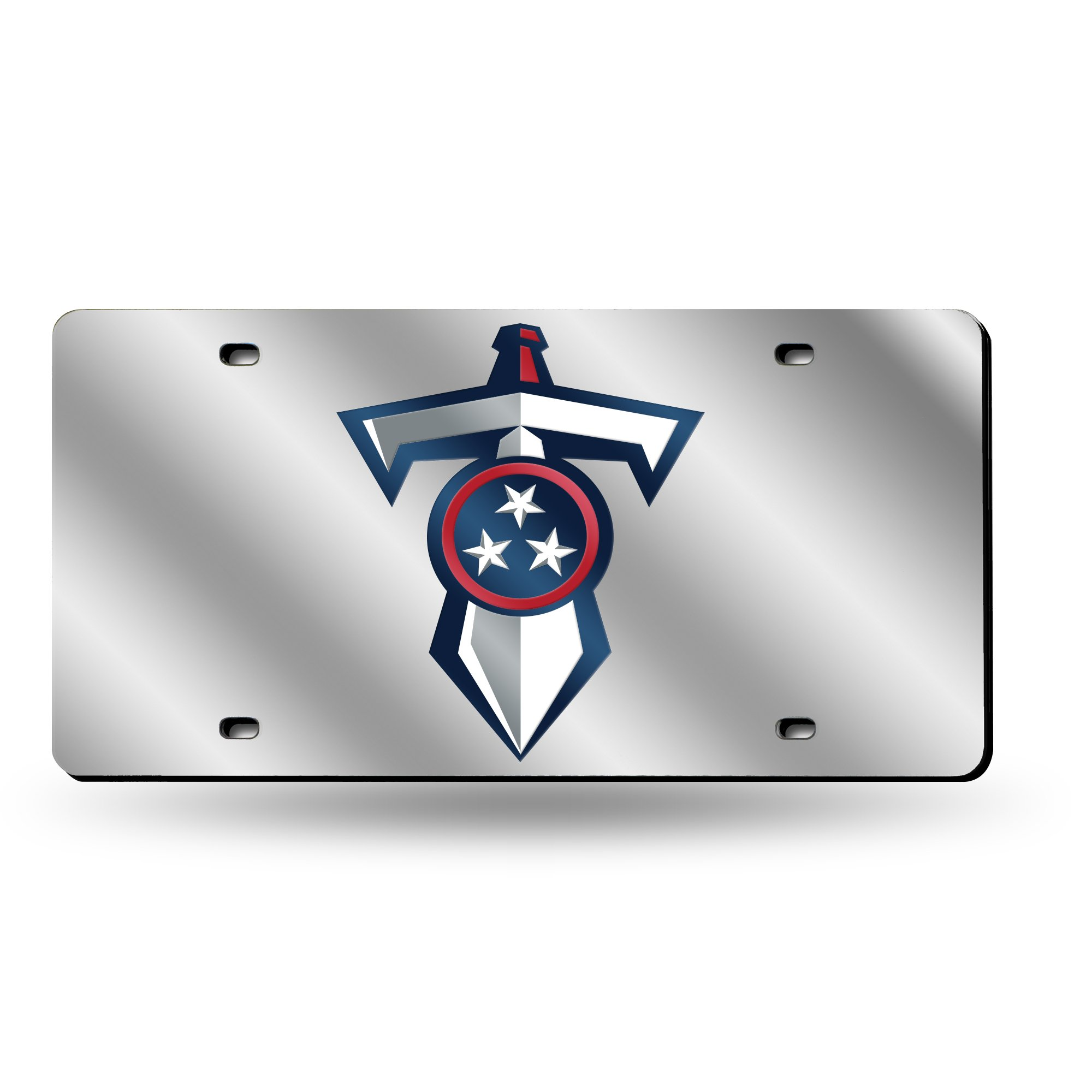 Rico Industries NFL Tennessee Titans Shield & Sword Laser Inlaid Metal License Plate Tag, Silver