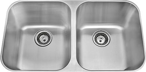 Amerisink AS101 18 Gauge Undermount Equal Bowl Sink, Stainless Steel