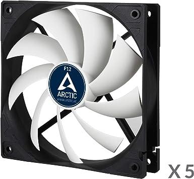 ARCTIC F12 - Ventilador para caja estándar de 120 mm, Silencioso, Instalación dos direcciones - Paquete de 5, 1350 RPM - Negro: Amazon.es: Informática