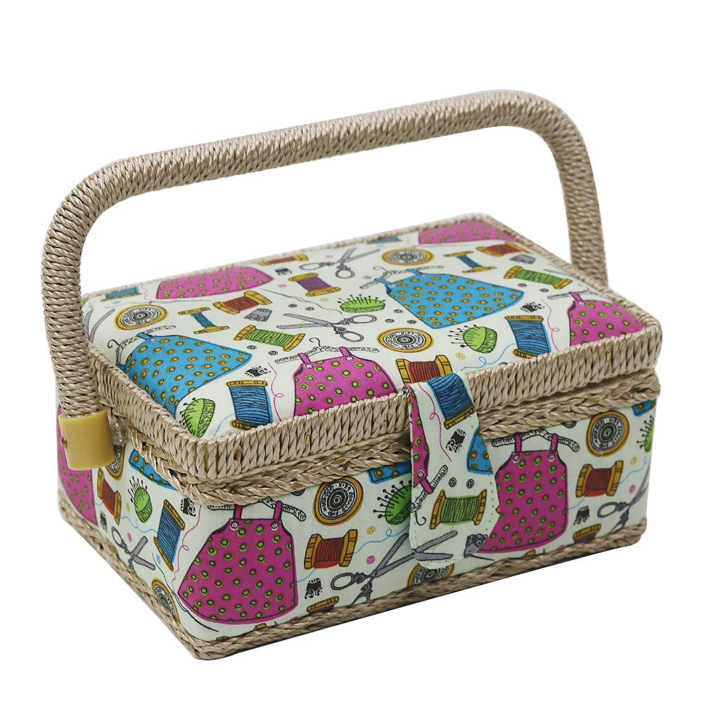 D&D 100% Handmade Vintage Sewing Basket with Sewing Kit Accessories - Wooden& Fabric (Multicolored) DSC0614