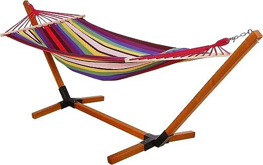 SONGMICS hamaca de jardín con patas de madera cojín jardín balancín tejido GDC31W: Amazon.es: Jardín