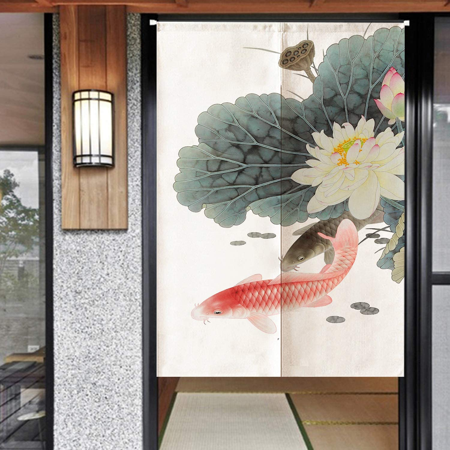 Ofat Home Chinese Traditional Painting Door Curtain Carp Kio Ink Painting Take You Good Luck Cotton Linen Ink Painting 33.5