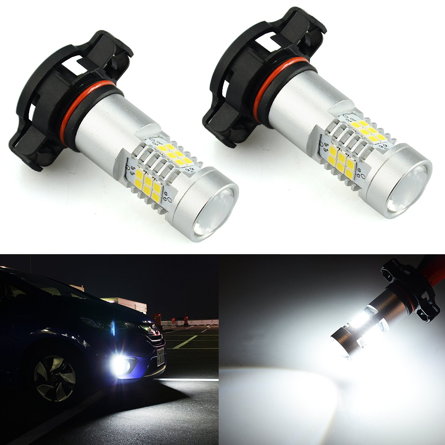 JDM ASTAR 2520 Lumens Extremely Bright PX Chips 2504 pxs24w LED Fog Light Bulbs with Projector for DRL or Fog Lights, Xenon White (2504)