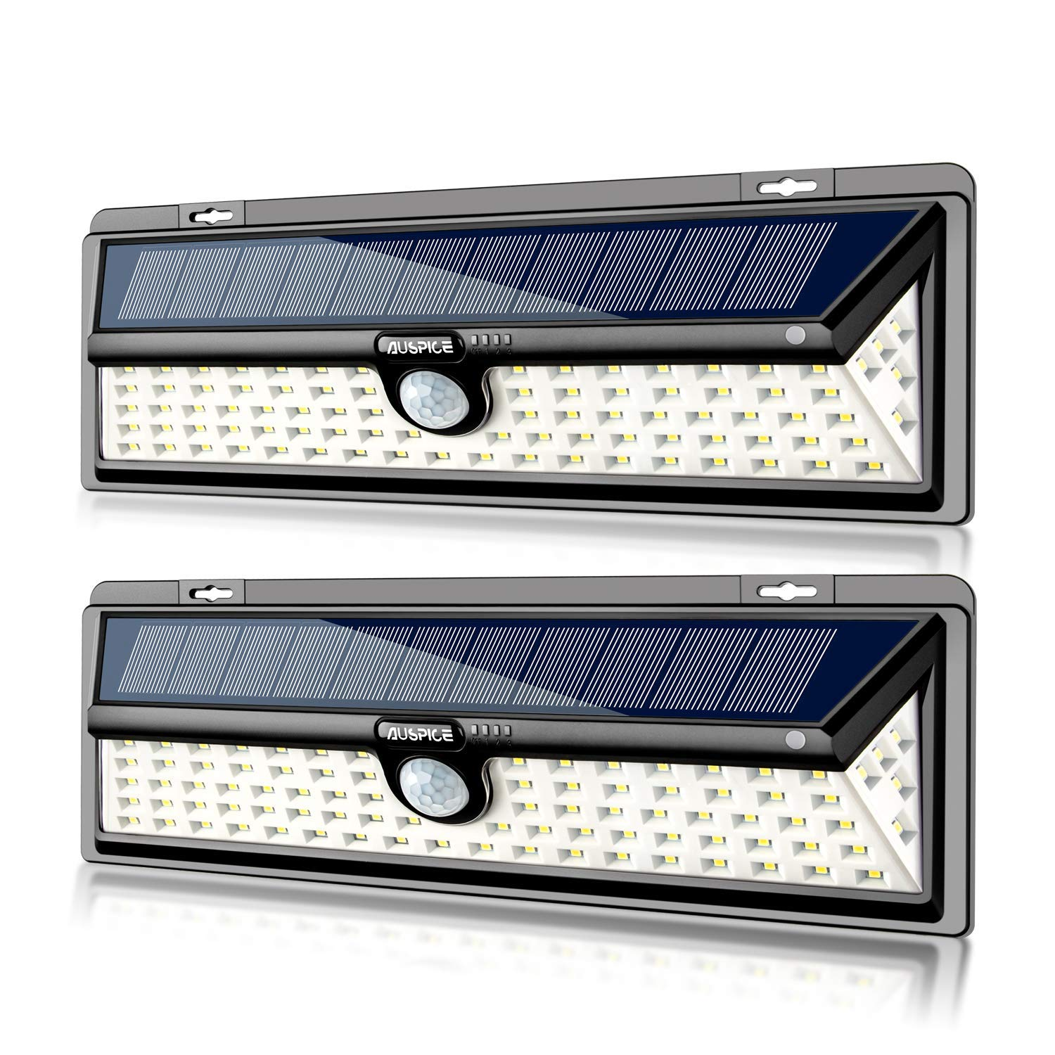 AUSPICE Solar Lights Outdoor, 90 LED 3 Optional Modes Wireless Motion Sensor Light with 270° Wide Angle, IP65 Waterproof, Easy-to-Install Security Lights for Front Door, Yard, Garage, Deck (2 Pack)