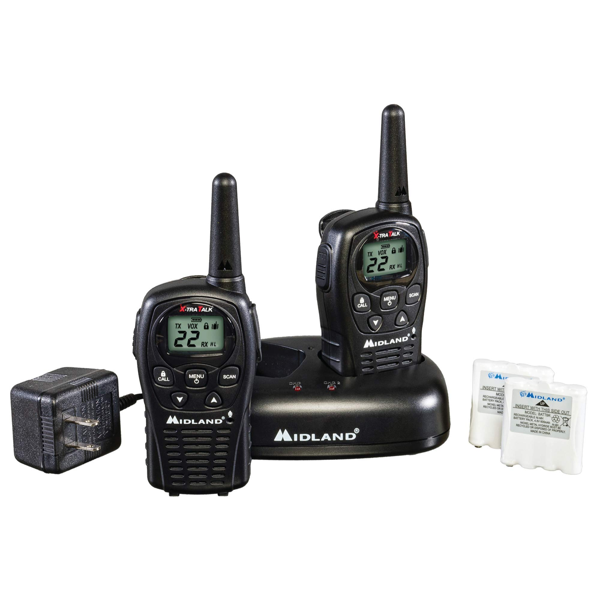 Midland - LXT500VP3, 22 Channel FRS Two-Way Radio with Channel Scan - Up to 24 Mile Range Walkie Talkie, Silent Operation, Water Resistant (Pair Pack) (Black) by Midland