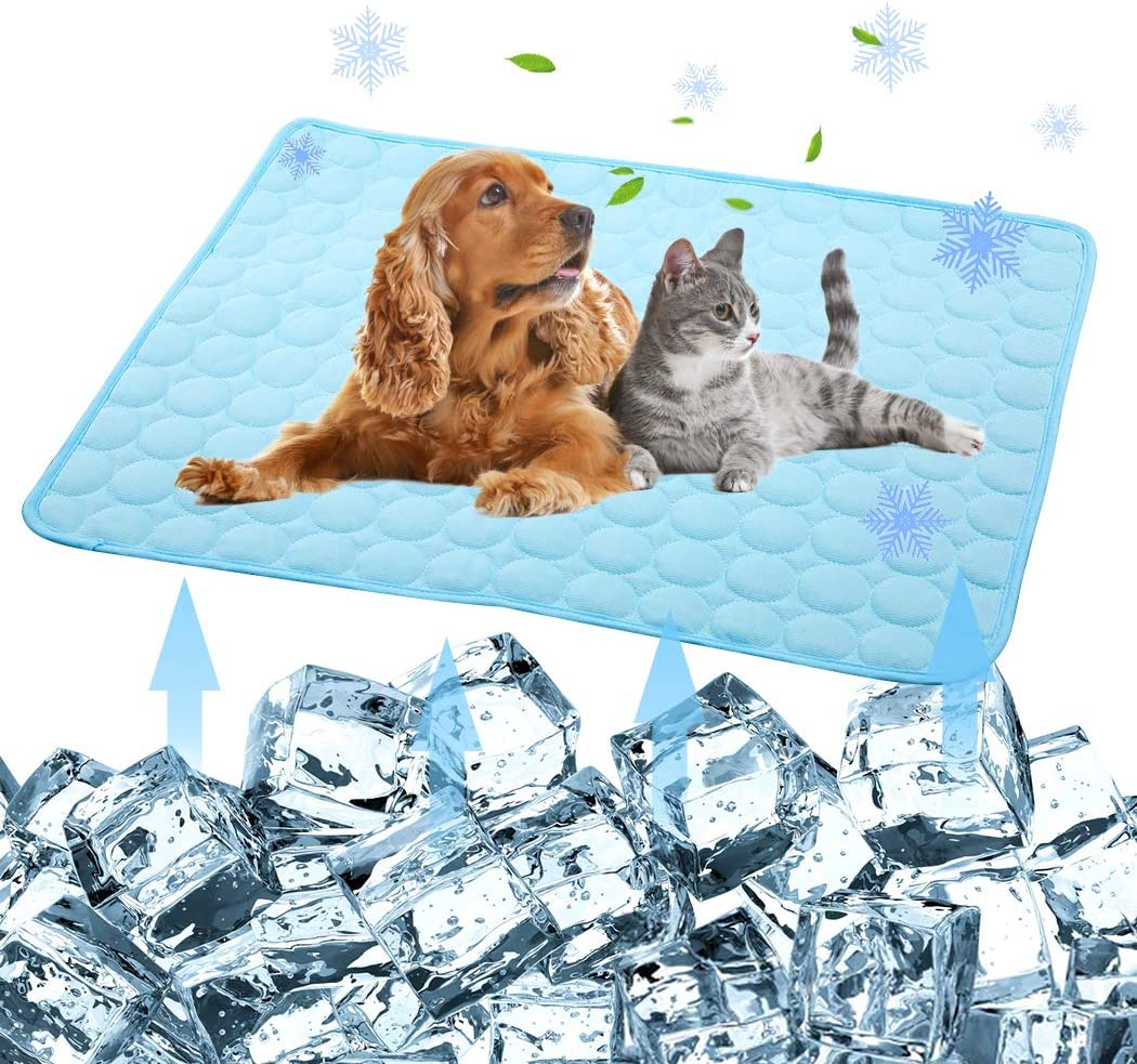 iphonepassteCK Pet Products Cool Mat-Dog Cooling Mat, Summer Pet Cooling Pads, Ice Silk Cooling Mat for Dogs & Cats Portable & Washable Pet Cooling Blanket for Kennel/Sofa/Bed/Floor/Car Seats