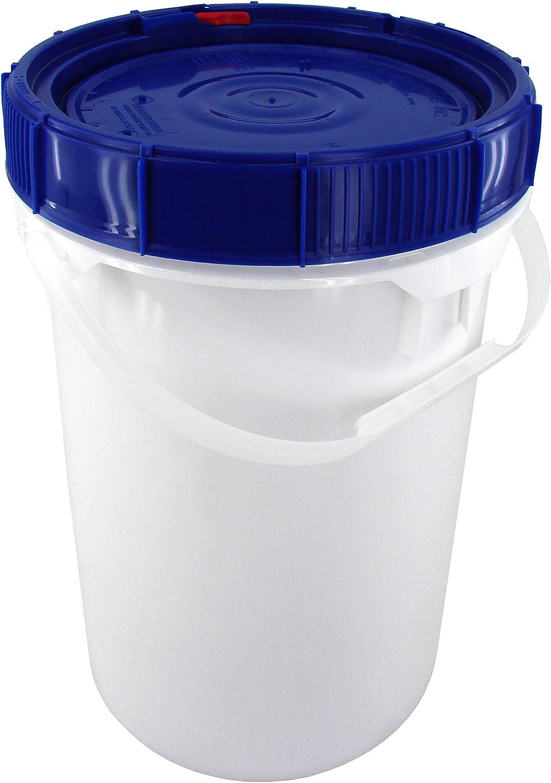 Screw Top Bucket - 6.5 Gallon with Blue Lid; Heavy Duty 90 mil