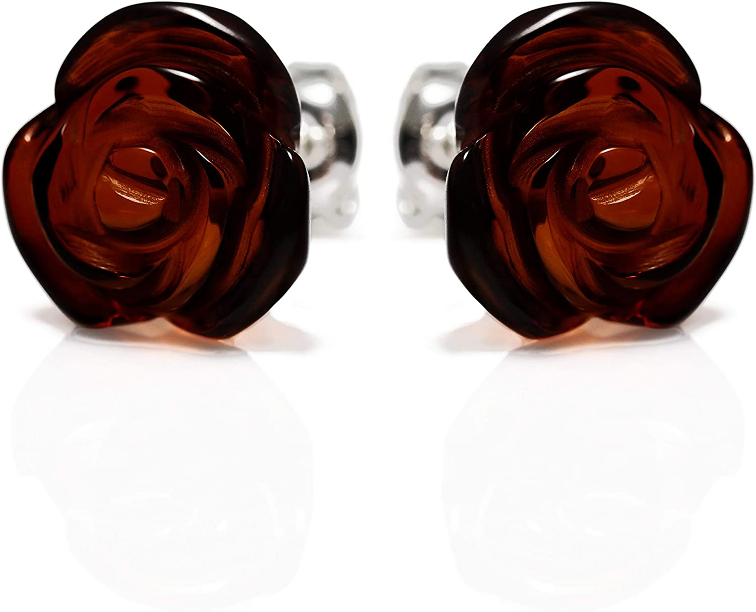 925 Sterling Silver Stud Earrings Rose with Natural Genuine Baltic Amber for Women - Hypoallergenic