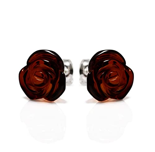 964979522 925 Sterling Silver Stud Earrings Rose with Cherry Genuine Natural Baltic  Amber