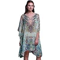 Phagun Blue Floral & Skull Short Caftan Midi Dress Beach Swimwear Cover up Womens Kaftan
