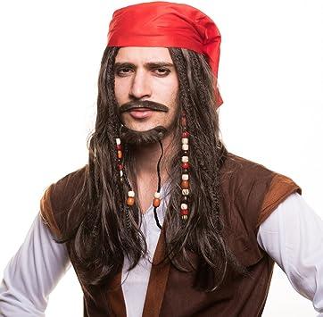 Piratas Pirata Peluca Peluca de pirata con perlas und rojo Pañuelo ...