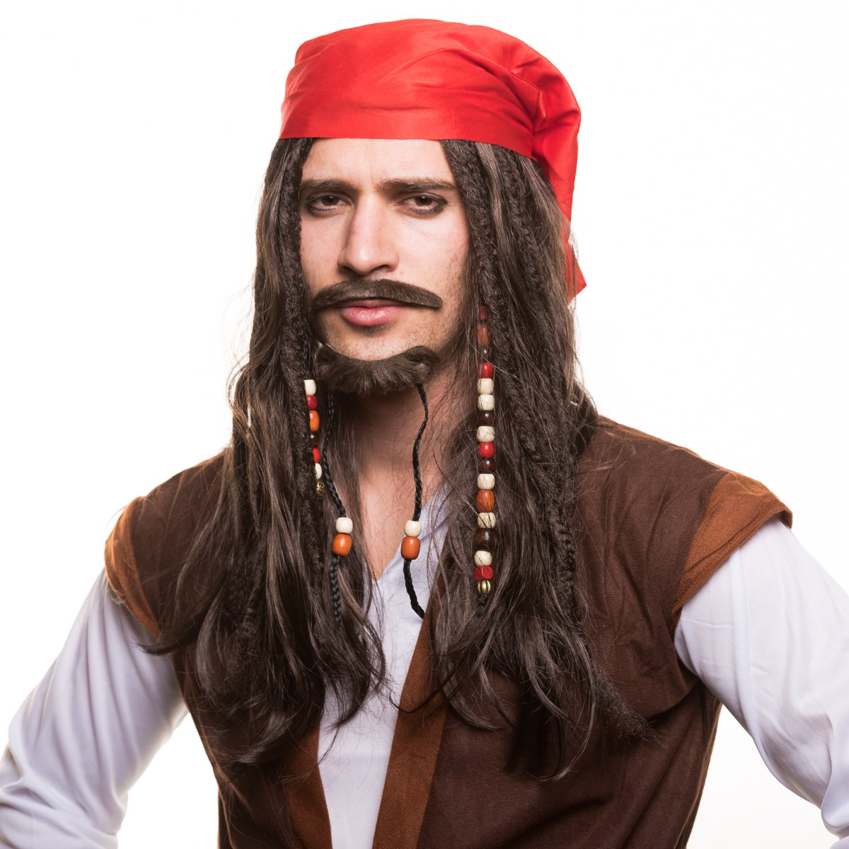 Piratas Pirata Peluca Peluca de pirata con perlas und rojo Pañuelo para la perfecto Disfraz de pirata zum Carnaval y el carnaval: Amazon.es: Juguetes y ...