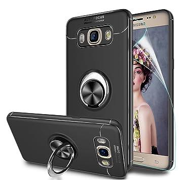 LeYi Compatible con Funda Samsung Galaxy J5 2016 con Anillo Soporte, 360 Grados Giratorio Ring Grip con Kickstand Gel de Silicona Bumper Case Carcasa ...