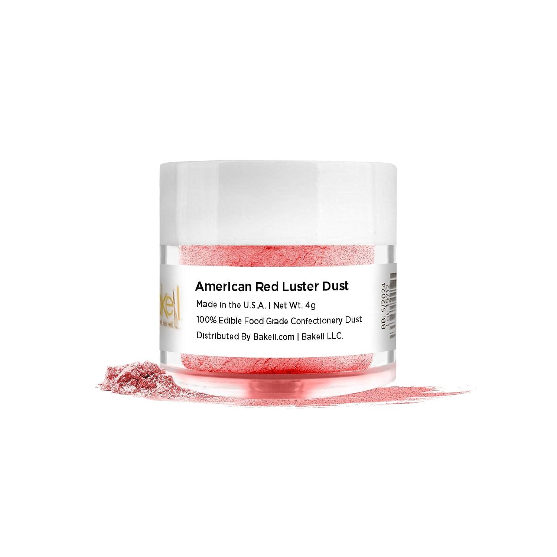 BAKELL American Red Edible Luster Dust & Paint, 4 Gram   LUSTER DUST Edible Powder   KOSHER Certified Paint, Powder & Dust   100% Edible & Food Grade  Cakes, Cupcakes, Vegan Dust (American Red)