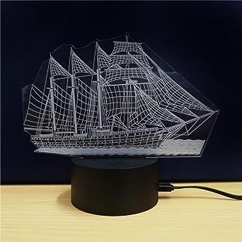 3D Lámpara de Mesa Barco Buque de vapor Forma de Regalo Acrílico ...