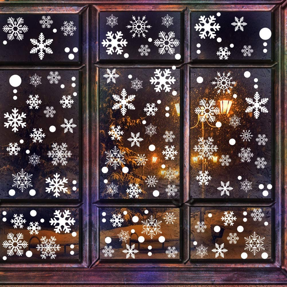 180pcs White Snowflakes Window Clings Decals Stickers,Christmas Winter Wonderland Ornaments Party Supplies Home Decorations(4 Sheets)