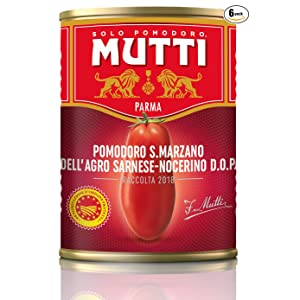 Mutti — 14 oz. 6 Pack of Whole Peeled San Marzano PDO Tomatoes (Pelati San Marzano) from Italy's #1 Tomato Brand. Authentic San Marzanos featuring the official seal of the consortium.