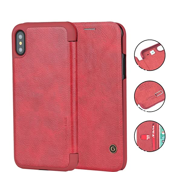 save off eda3c 7ff45 iPhone X Case, G-CASE [Business] Ultra Slim Folio Flip Leather Wallet Case  360 Degree Full Body Protection Case with Card Slot for ID/Card/Cash for ...