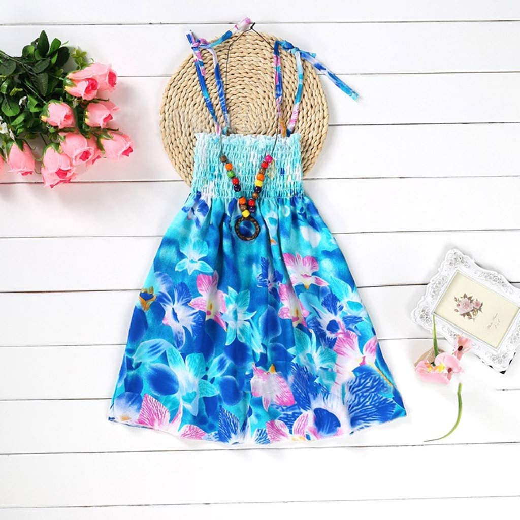 Baby Dresses Newborn Girls 2-3 Years Yellow Infant Kids Girls Baby Clothes Vestidos Floral Bohemian Beach Straps Dress Ramadan Festival Easter Gifts
