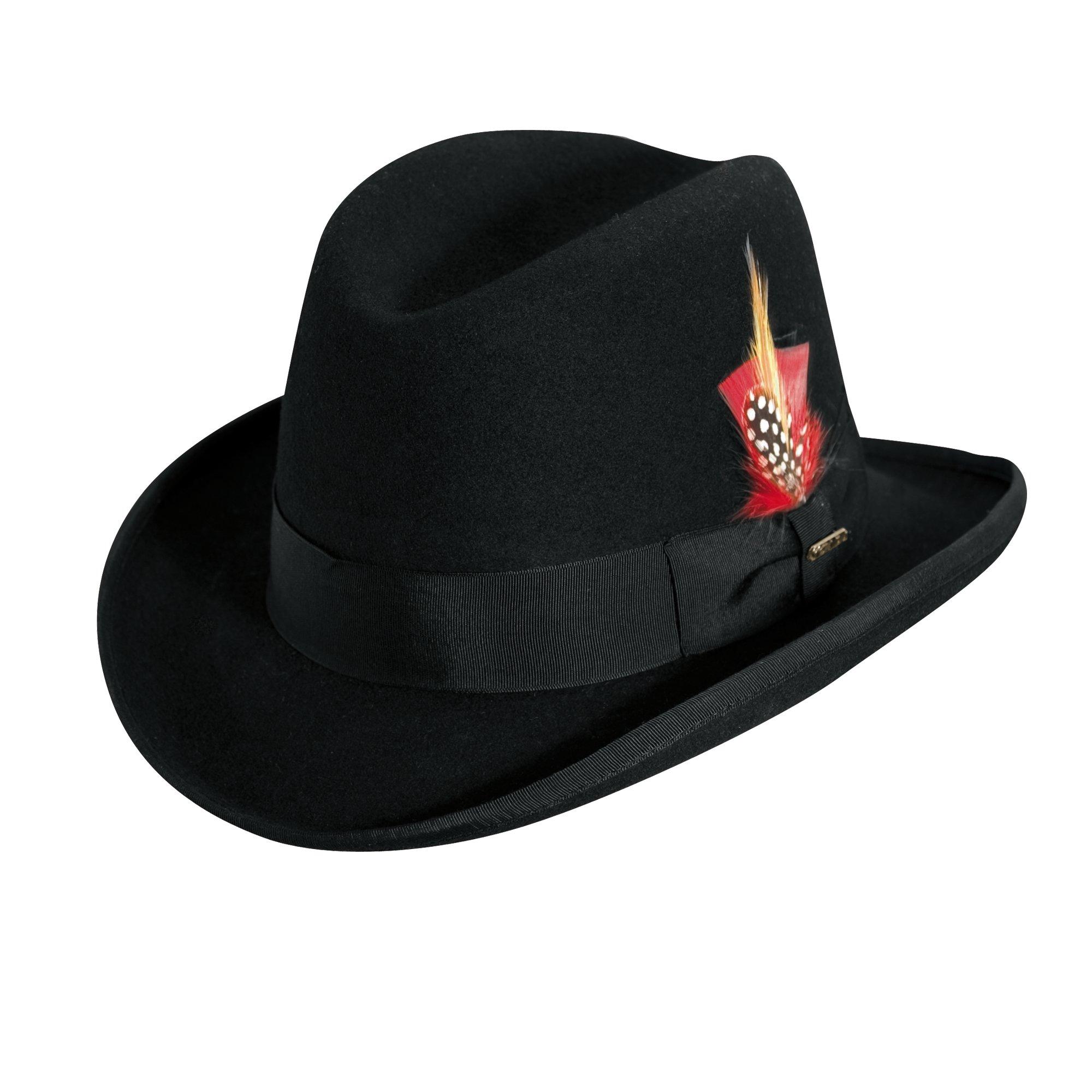 Scala Classico Men's Wool Felt Homburg Hat, Black, Medium