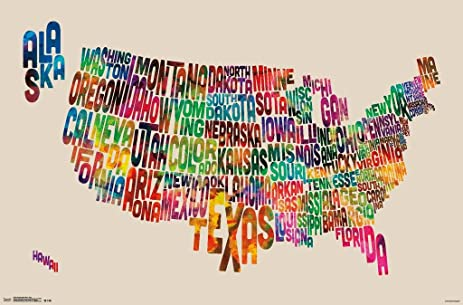 Amazoncom United States Map Usa Made Out Of Text Words Poster