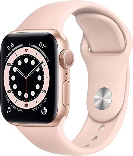 Apple Watch Series 6 (GPS) 40mm Gold Aluminum Case with Pink Sand Sport Band – Gold