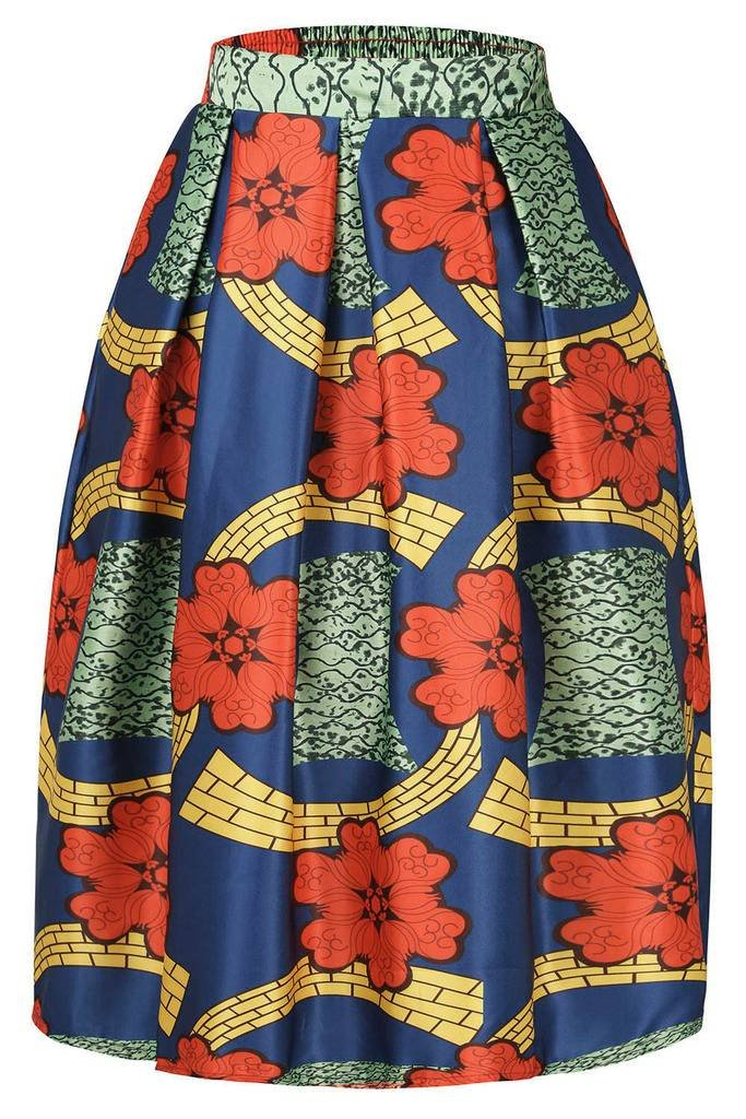 Annflat Women's African Print Casual A-Line Dress Pleated Midi Skirt AF65010-P
