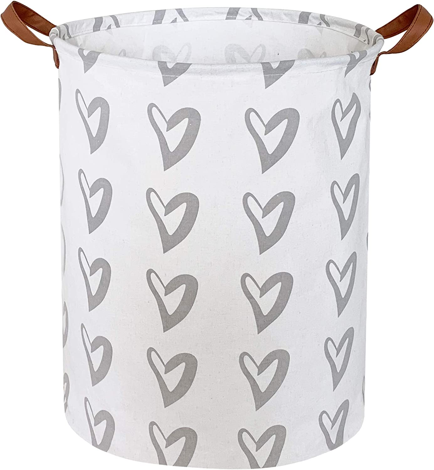 CLOCOR Laundry Basket,Laundry Hamper,Collapsible Storage Bin,Canvas Fabric Clothes Baskets,Nursery Hamper for Home,Office,Dorm,Gift Basket (Grey Heart)