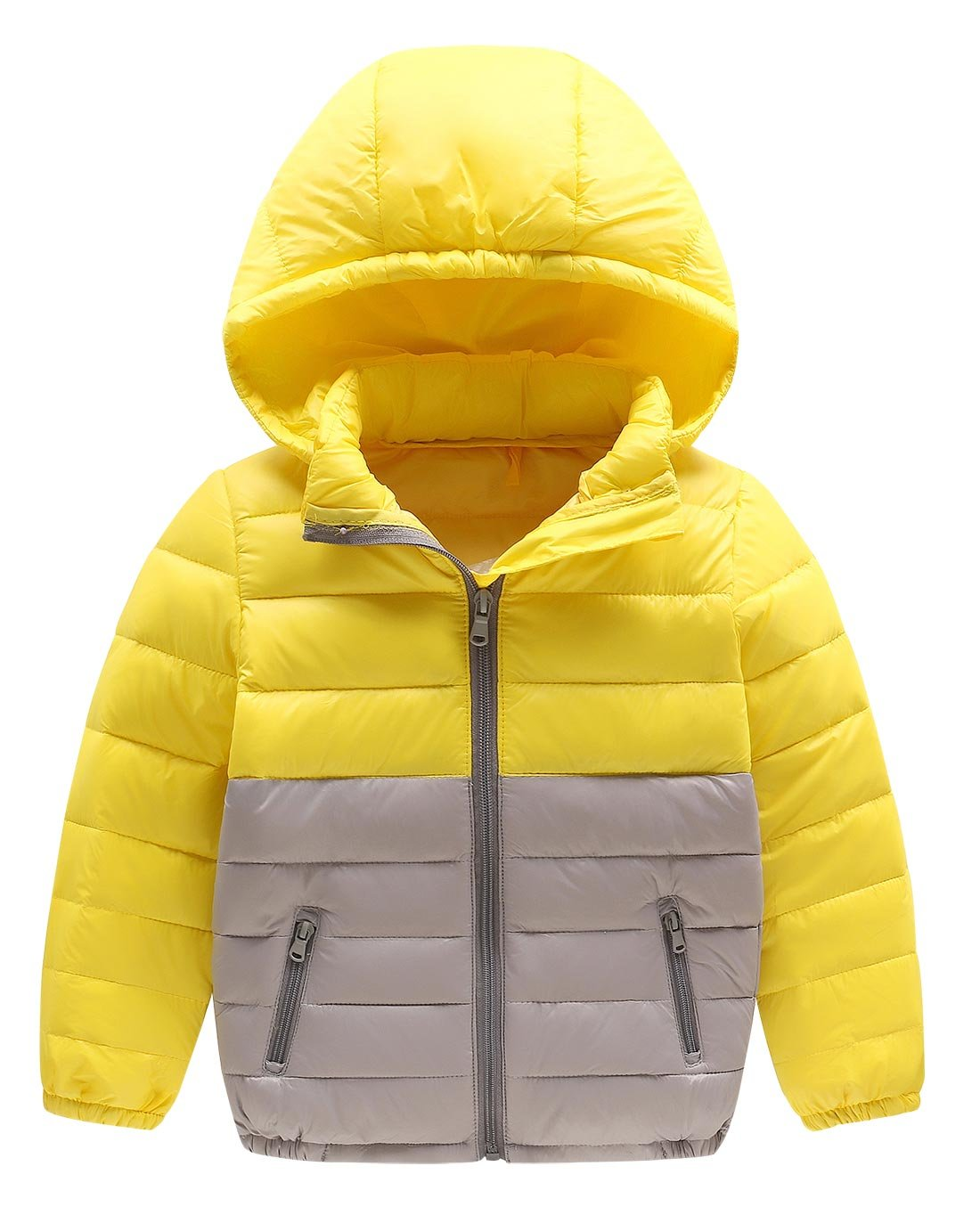 Happy Cherry Girls Winter Coat Packable Hoodie Short DownCoat Candy Color Windproof Puffer Jacket 5-6T Yellow