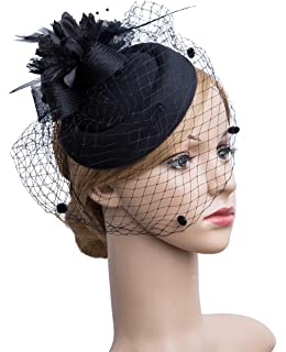 Cizoe Fascinator Hair Clip Pillbox Hat Bowler Feather Flower Veil Wedding  Party Hat Tea Hat 973c6c6276d5