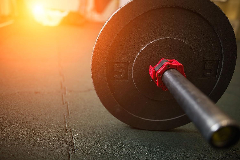 ideal para CrossFit RitFit sentadillas pesos muertos y otras actividades OHP Juego de 2 abrazaderas de bloqueo de nailon s/ólido con cierre de liberaci/ón r/ápida
