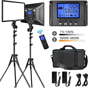 """LED Video Lighting Kit with Wireless Remote, Dazzne D50(2 Packs) Dimmable Bi-Color 15.4"""" LED Panel Light Stand, 45W 3000K-5800K CRI>96 Studio Light for Video Shooting Live Stream Photography YouTube"""" /></a></div> <div class="""