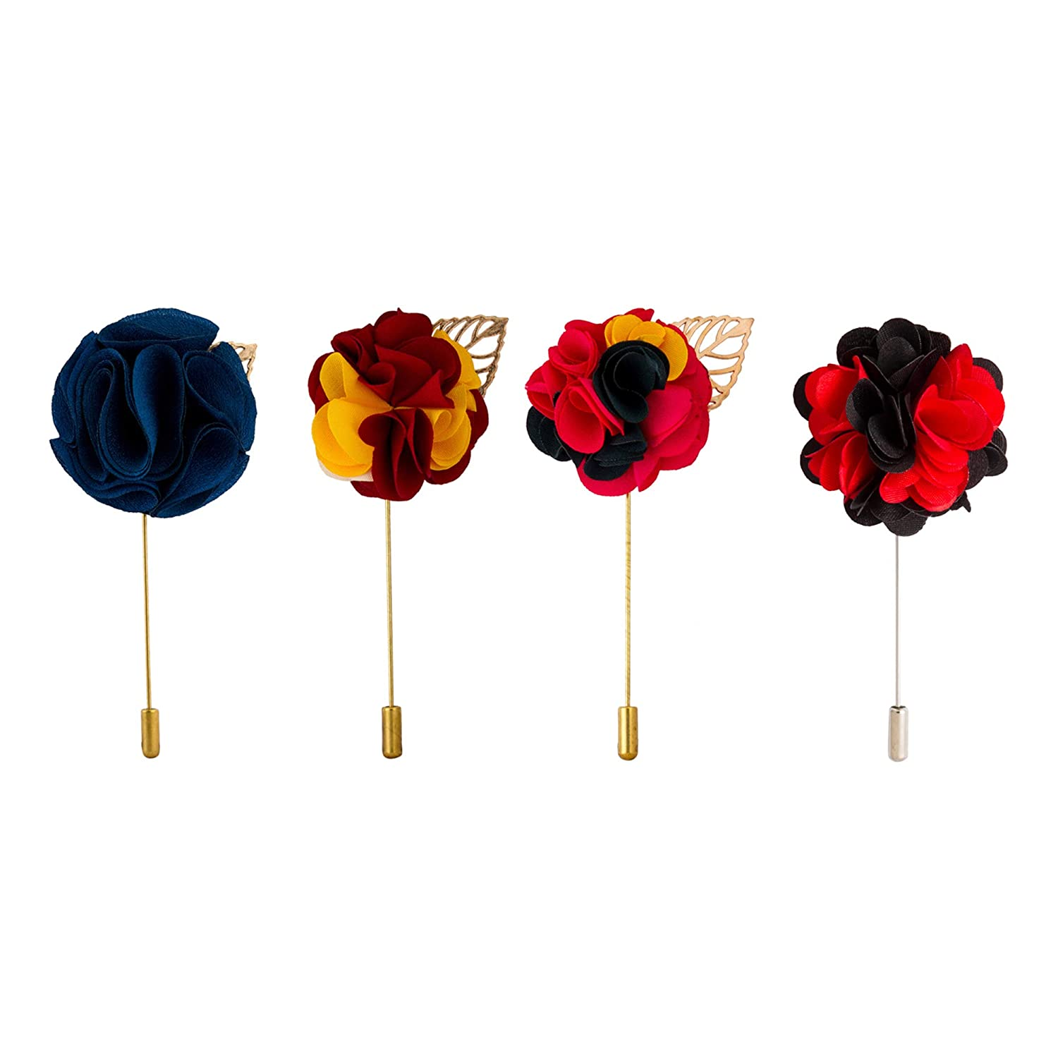 Knighthood Mens Flower Lapel Pins Gift Set -Pack of 4 Multi Color,Free Size