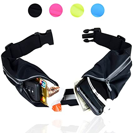 45c222f73dbf Adorence Running Belt - 2 Workout Pockets Runners Waist Pack with Free  Reflective Band (Waterproof Running Fanny Pack for Men Women) Travel Money  ...