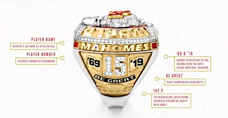 XiaKoMan 2019-2020 Kansas City World Champions Super Bowl Replica Chiefs Fans Championship KC Fans Ring MVP mahomes with Wood Box