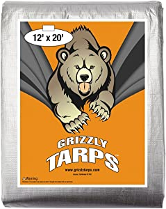 B-Air Grizzly Tarps - Large Multi-Purpose, Waterproof, Heavy Duty Poly Tarp Cover - 10 Mil Thick (Silver - 12 x 20 Feet)
