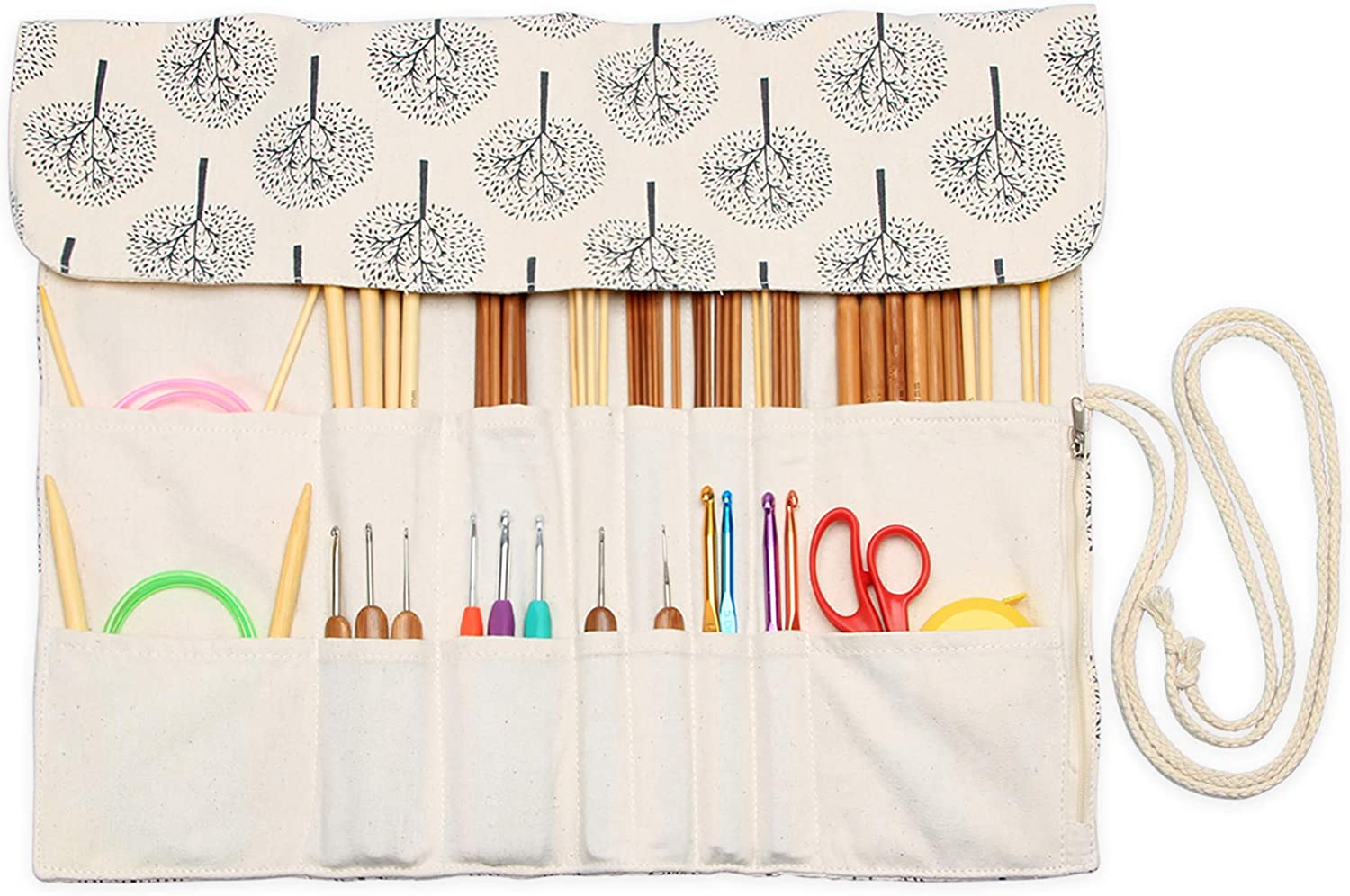 Pink Hanging Knitting Needles Storage Organizer Up to 14 Inch Rolling Knitting Needles Holder Case for Circular and Straight Knitting Needles,