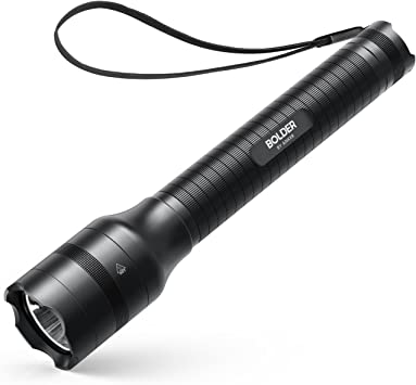 LED 2 Cell D Flashlight With Batteries Black Outdoor Camping Hiking Lights
