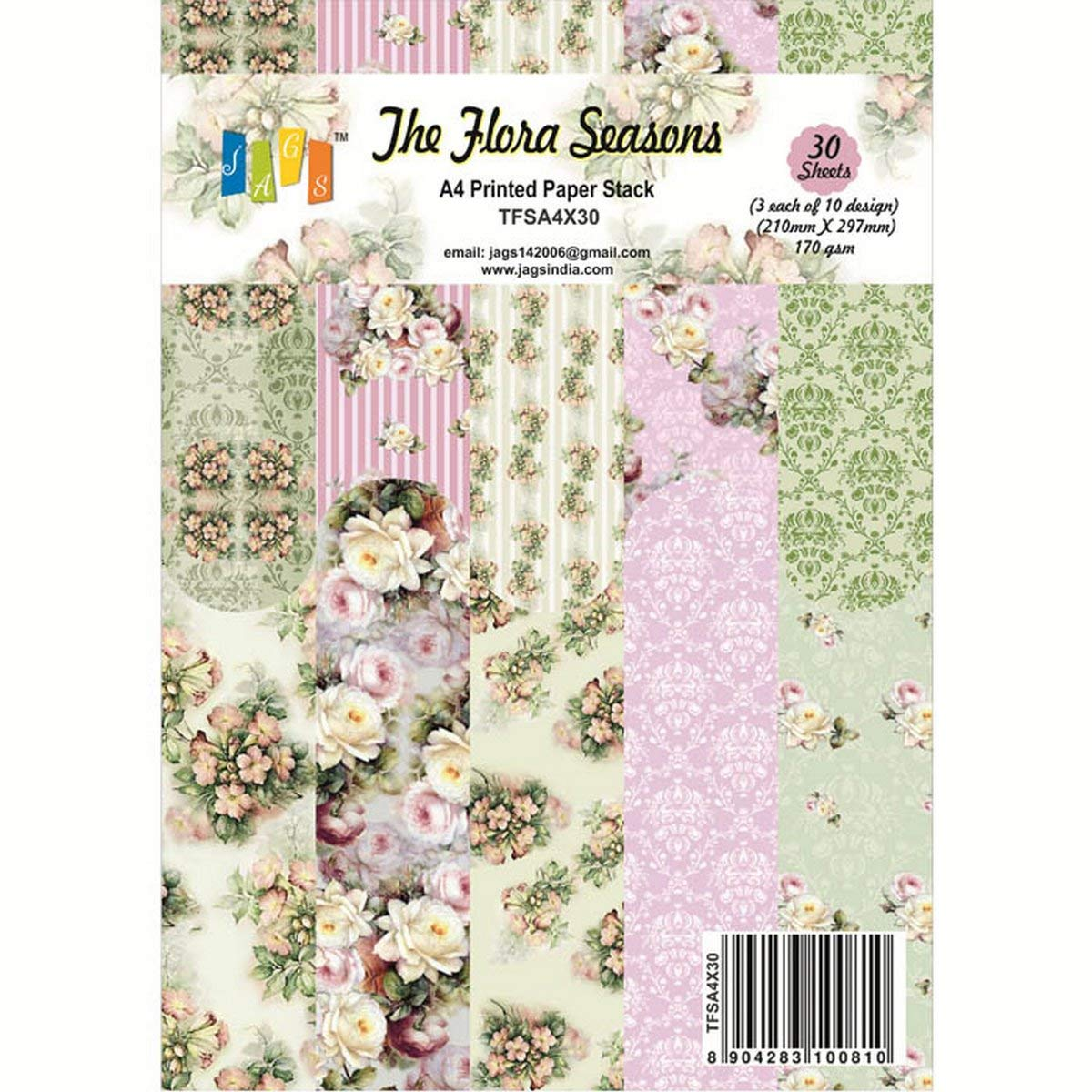JAGS The Flora Seasons 6x6 Inch Printed Paper for Crafts 3 Sheets Each of 10 Designs for Making DIY Greetings and Scrapbooking Pack of 30
