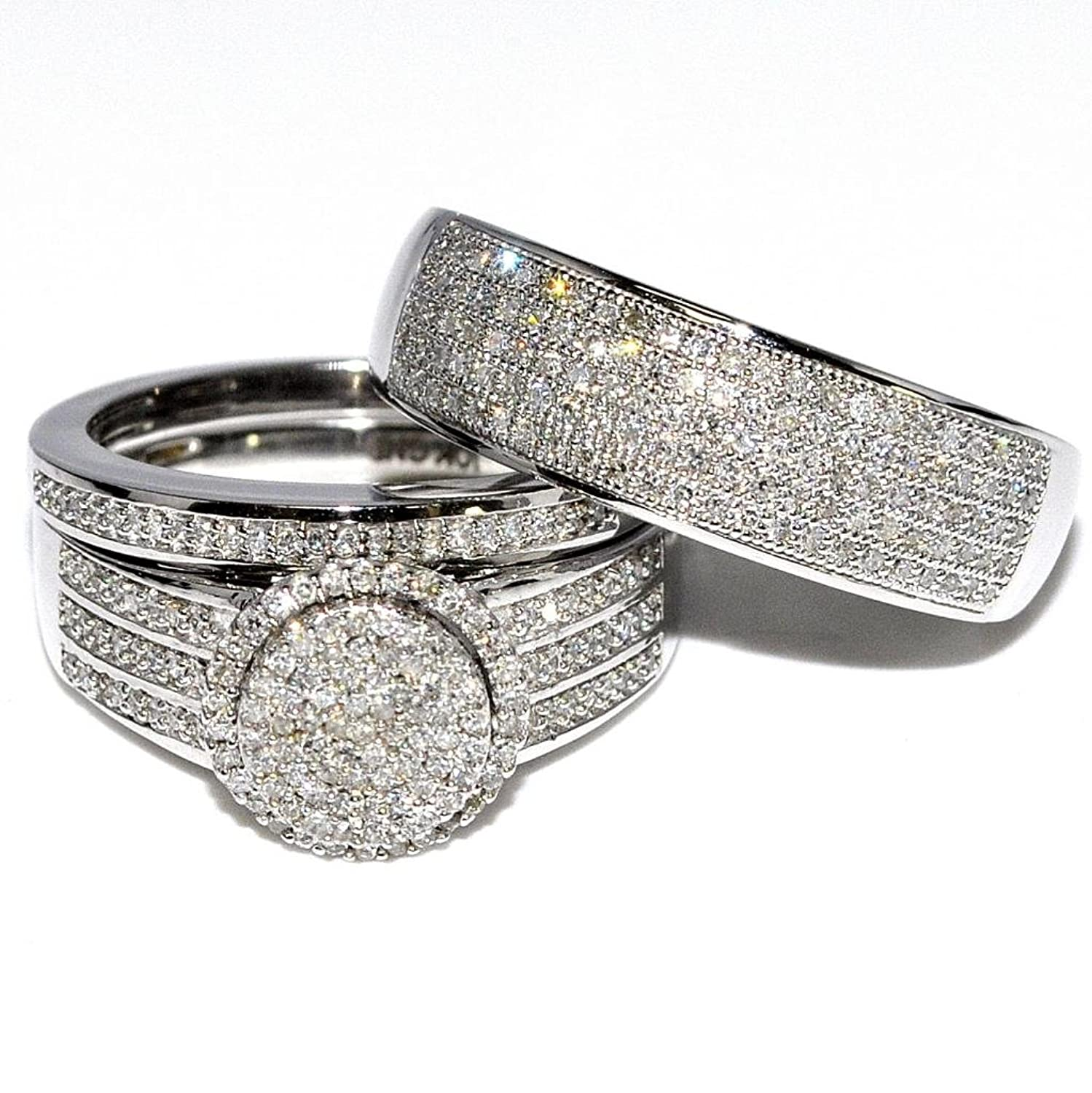 Amazon Rings MidwestJewellery His & Her 10k White Gold Halo