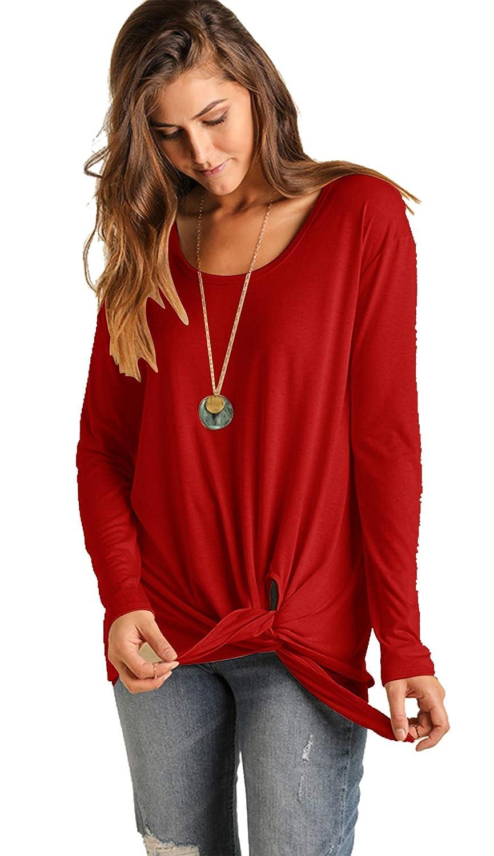 Umgee USA Womens Soft Light Knit Long Sleeve Top Slitted Sharkbite Hemline and Side Waist Tie Sweater Shirt Top
