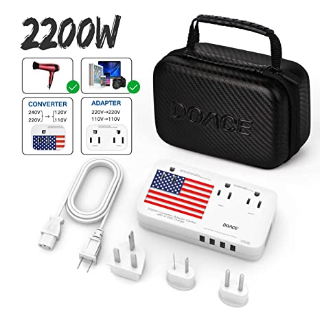 DOACE X9 2200W Travel Voltage Converter 220V to 110V for Hair Dryer Steam  Iron, 10A Travel Power Adapter with 2 4A 4-Port USB and UK/AU/US/EU