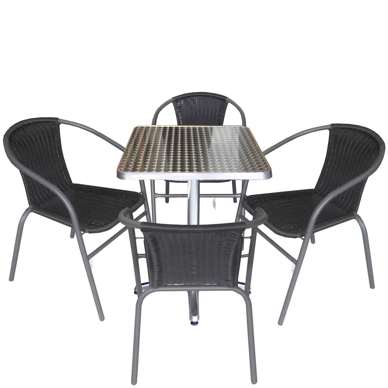 5tlg Sitzgruppe Bistrotisch Aluminium 60x60cm 4x Stapelstuhl