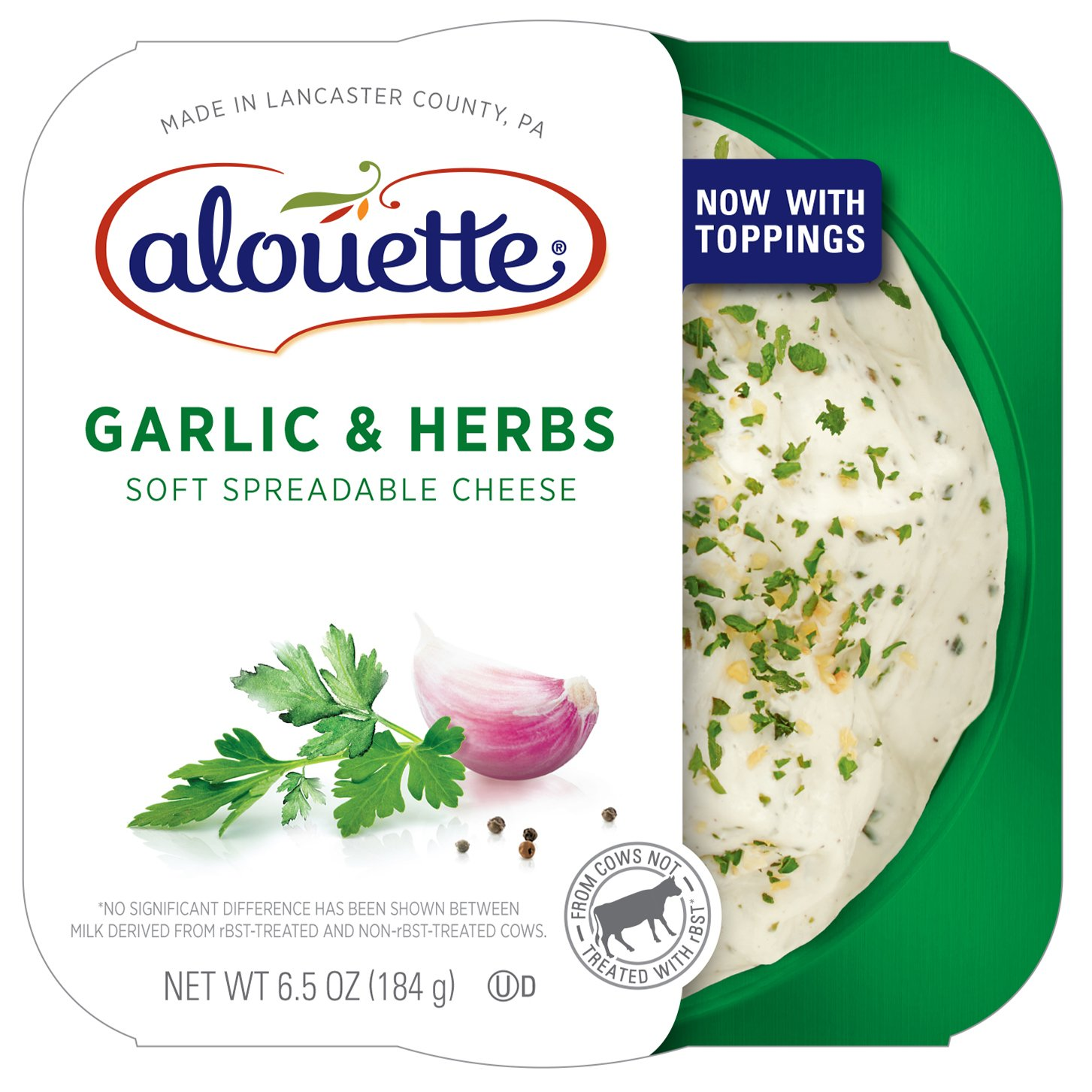 ALOUETTE Garlic and Herbs Soft Spreadable Cheese, 6.5 Ounce (Pack of 12)